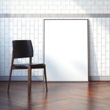 Inre med tom vit kanfas och stol framförande 3d Arkivfoto