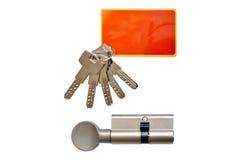 Inre mekanism av dörratt låsa och tangenter Arkivbilder