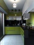 Inre Minimalist stil för kök, tolkning 3D Royaltyfria Bilder