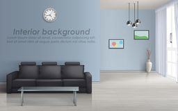 Inre modell för vektor av vardagsrum med soffan royaltyfri illustrationer