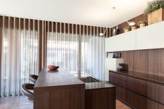 Inre modern design för träkök arkivbilder