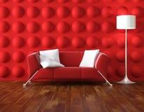 inre modern röd white Arkivbilder