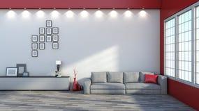 inre modern sofa Arkivfoto