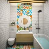 Inre modern tolkning för badrum 3D Royaltyfri Bild