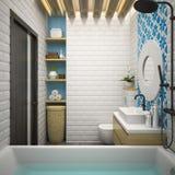 Inre modern tolkning för badrum 3D Royaltyfri Fotografi