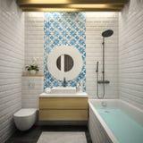 Inre modern tolkning för badrum 3D Fotografering för Bildbyråer