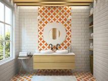 Inre modern tolkning för badrum 3D Royaltyfria Bilder