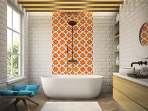 Inre modern tolkning för badrum 3D Arkivbilder