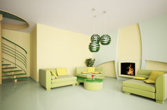 inre modern trappa för spis 3d Royaltyfria Bilder