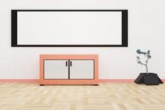 Inre modern vardagsrum en stor whiteboard på en vit vägg royaltyfri illustrationer