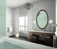 inre modernt för badrumdesign Arkivbild
