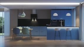 inre modernt för hus blått kök Arkivfoto