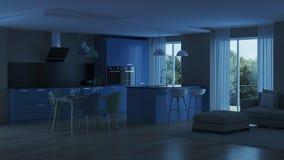 inre modernt för hus blått kök Royaltyfri Foto