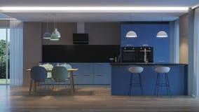 inre modernt för hus blått kök Arkivbild