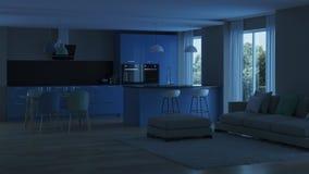 inre modernt för hus blått kök Royaltyfri Fotografi