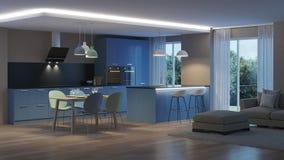 inre modernt för hus blått kök Royaltyfri Bild