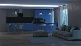 inre modernt för hus blått kök Arkivfoton