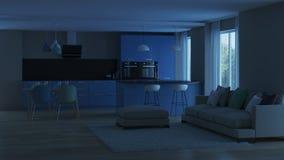 inre modernt för hus blått kök Royaltyfria Foton