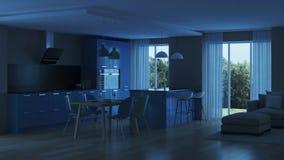 inre modernt för hus blått kök Royaltyfria Bilder