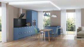 inre modernt för hus blått kök Arkivbilder