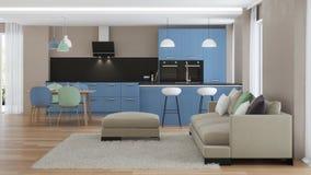 inre modernt för hus blått kök Fotografering för Bildbyråer