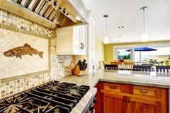 inre modernt för hus Kökrum med skinande granitblast och arkivfoton