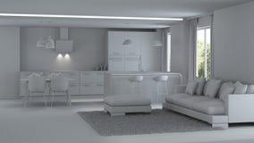 inre modernt för hus reparationer grå interior Arkivbilder