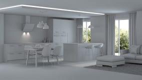 inre modernt för hus reparationer grå interior Royaltyfria Bilder