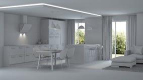 inre modernt för hus reparationer grå interior Arkivfoto