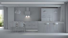 inre modernt för hus reparationer grå interior Royaltyfri Foto