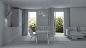 inre modernt för hus reparationer grå interior Royaltyfria Foton