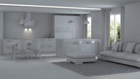 inre modernt för hus reparationer grå interior Fotografering för Bildbyråer