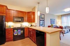 inre modernt för lägenhet öppet plan för golv Royaltyfria Foton