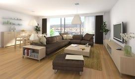 inre modernt för lägenhetdesign Royaltyfria Bilder