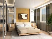 inre modernt för sovrum Arkivfoto