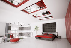 inre modernt för sovrum 3d Royaltyfria Bilder