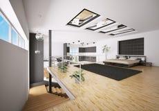 inre modernt för sovrum 3d Arkivbilder