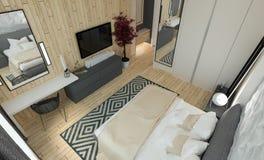 inre modernt för sovrum Royaltyfri Fotografi