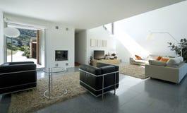 inre modernt för tegelstenhus Royaltyfri Fotografi