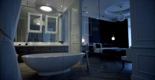 inre modernt f?r badrum royaltyfria bilder