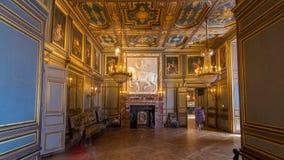 Inre och arkitektoniska detaljer av hyperlapsen för Chateaude Fontainebleau timelapse i Fontainebleau, Frankrike lager videofilmer
