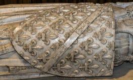 Inre och detaljer av basilikan av St Denis, Frankrike Arkivfoton