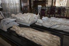 Inre och detaljer av basilikan av St Denis, Frankrike Royaltyfria Bilder