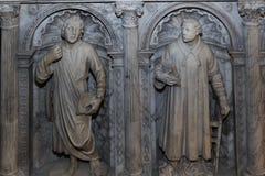 Inre och detaljer av basilikan av St Denis, Frankrike Arkivbild
