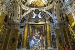 Inre och detaljer av den Siena domkyrkan, Siena, Italien Arkivfoton