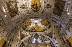 Inre och detaljer av den Siena domkyrkan, Siena, Italien Fotografering för Bildbyråer