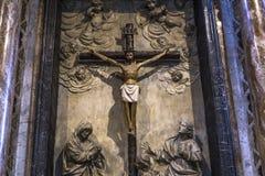 Inre och detaljer av den Siena domkyrkan, Siena, Italien Royaltyfri Bild