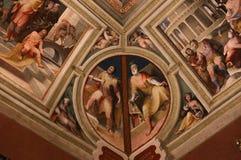 Inre och detaljer av Palazzo Pubblico, Siena, Italien Arkivbild