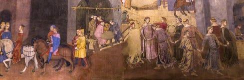 Inre och detaljer av Palazzo Pubblico, Siena, Italien Fotografering för Bildbyråer