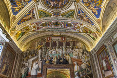 Inre och detaljer av Vaticanenmuseet, Vatican City Royaltyfria Bilder